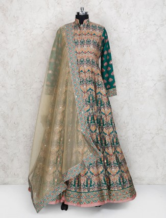 Beige flooe length pakistani cotton silk anarkali suit