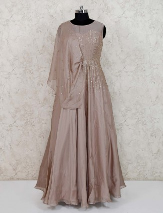 Beige floor length satin gown