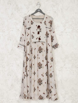 Beige flower motif printed kurti for festival occassion