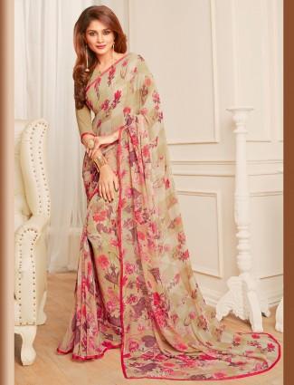 Beige georgette alluring printed saree