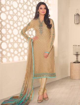 Beige georgette festive wear salwar suit