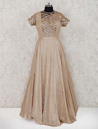 Beige georgette party wear gown