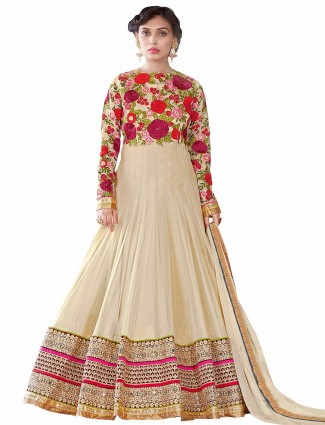 Beige georgette semi stitched party wear anarkali salwar suit