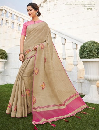 Beige handloom cotton saree with the pink blouse piece