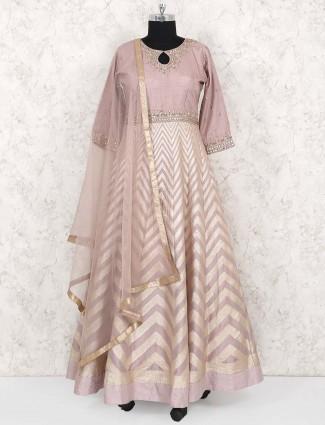 Beige hue classic cotton silk fabric anarkali suit