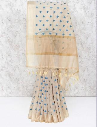 Beige hue classic saree in cotton