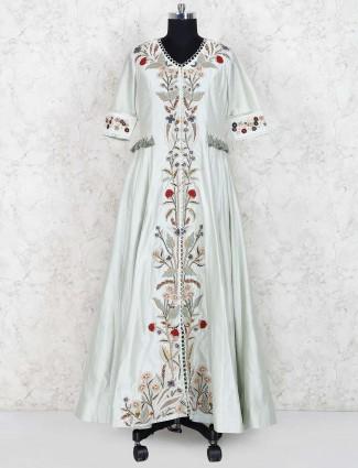 Beige hue colored cotton silk fabric floor length anarkali salwar suit