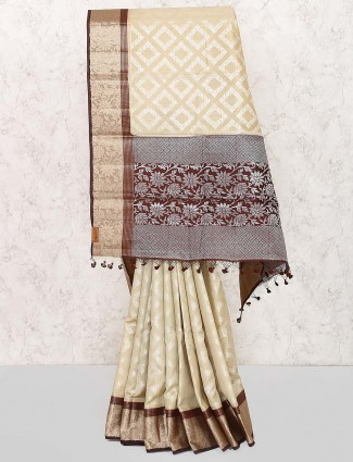 Beige hue colored saree in semi silk