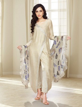 Beige hue cotton silk designer salwar suit