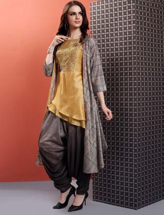 Mustard yellow hue cotton silk dhoti suit