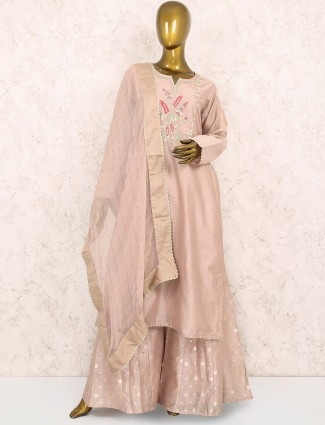 Beige hue cotton silk fabric punjabi palazzo suit