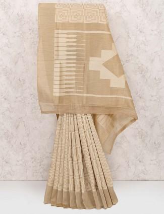 Beige hue cotton silk saree