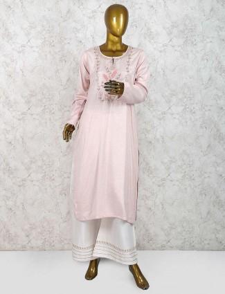 Beige hue cottonpunjabi palazzo suit