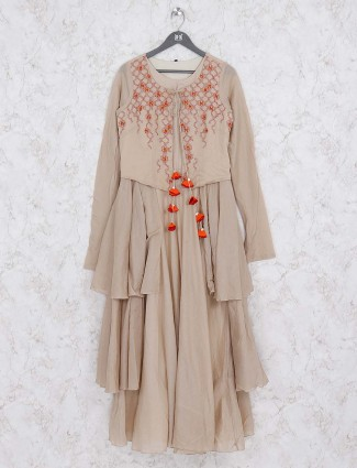 Beige hue layer style cotton kurti
