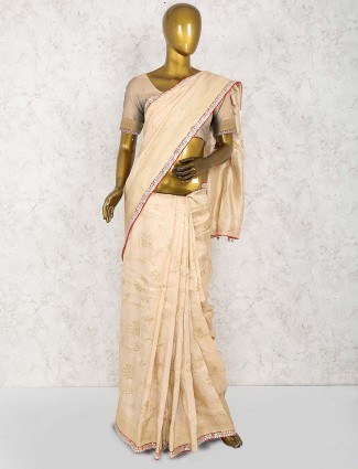 Beige hue lovely saree in cotton silk