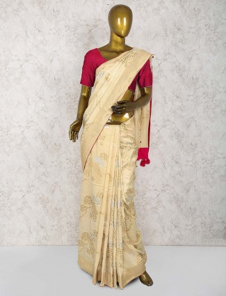 Beige hue muga silk fabric festive saree