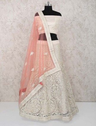 Beige hue net fabric party lehenga choli