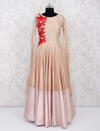 Beige hue party wear lovely gown