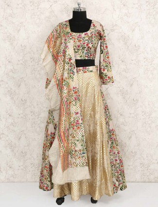 Beige hue raw silk printed lehenga choli
