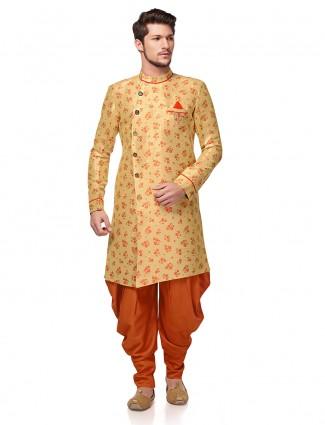 Beige hue raw silk wedding wear semi indo western