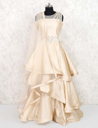 Beige hue satin silk party gown