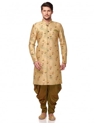 Beige hue terry rayon wedding wear semi indo western