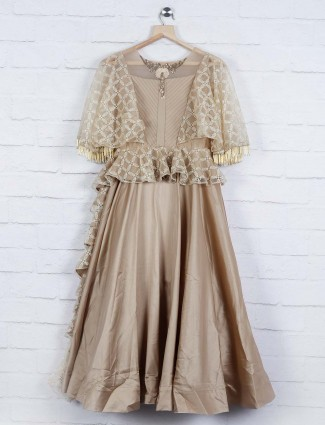 Beige hue wonderful party gown in cotton silk