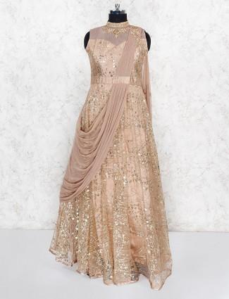 Beige hued designer wedding gown
