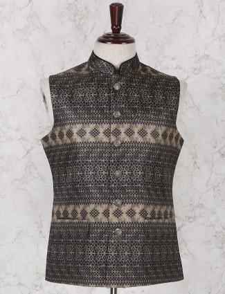 Beige hued printed waistcoat