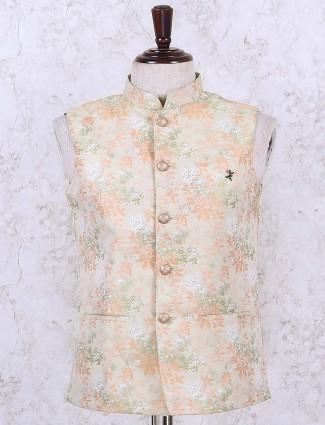 Beige hued terry rayon wedding waistcoat