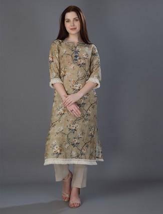 Beige linen festive wear kurti in printed
