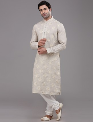 Beige linen kurta suit for festivals