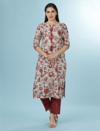 Beige linen punjabi pant suit for festive