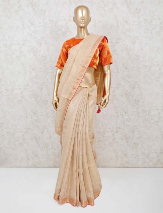Beige linen saree in ready made blouse