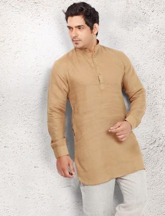 Beige linen short pathani