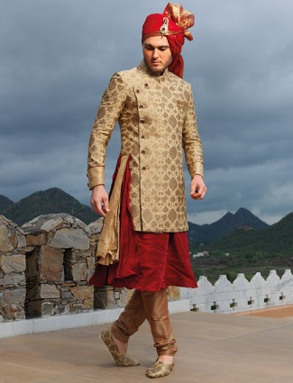 Beige maroon silk designer sherwani