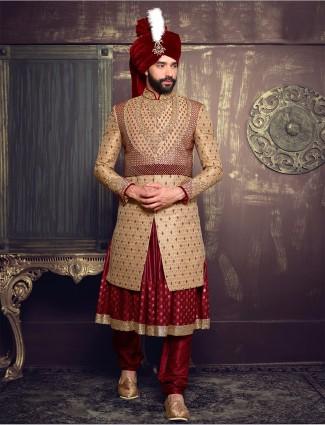 Beige maroon silk layered sherwani