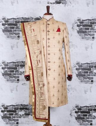 Beige maroon silk wedding wear indo western