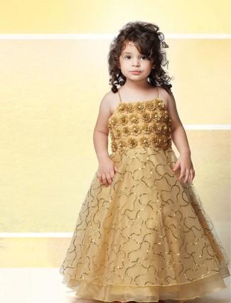 Beige net designer floor length gown in wedding