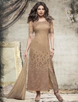 Beige net designer straight cut salwar suit