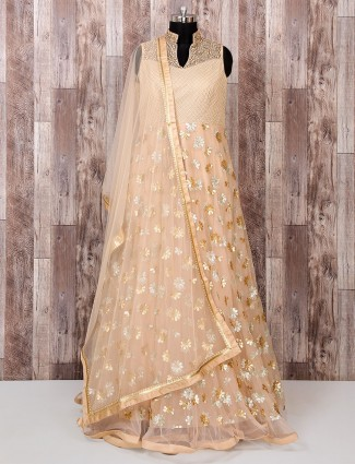 Beige net fabric designer party anarkali suit