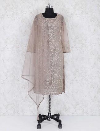 Beige net fabric punjabi salwar suit