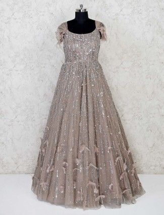 Beige net wedding occasion gown