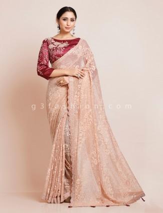 Beige organza tissue silk saree with readymade blouse