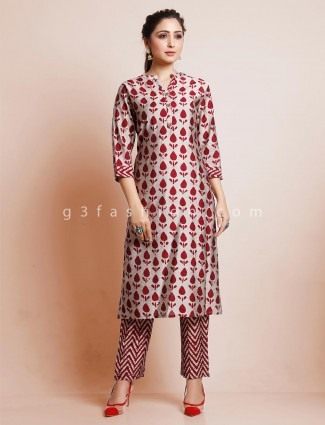 Beige pant suit with chinese neck in cotton