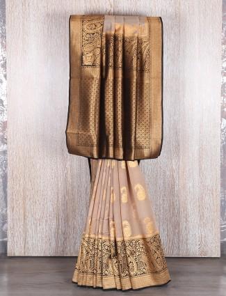 Beige party wear bhagalpuri silk saree