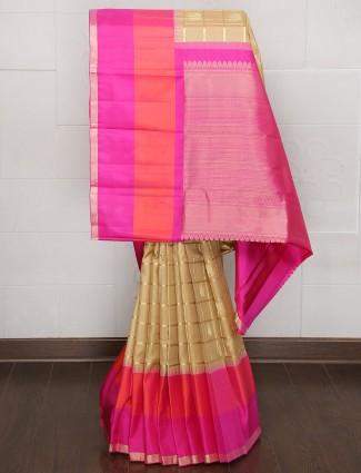Beige party wear kanjivaram silk saree