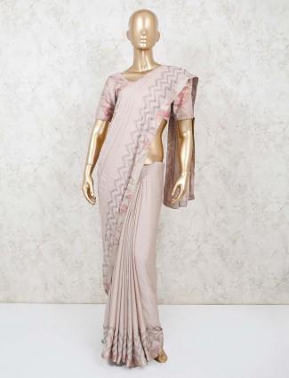 Beige party wear saree in satin