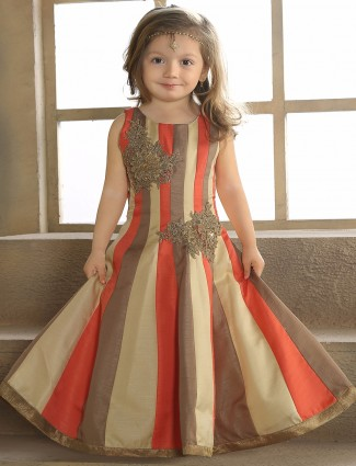 Beige peach silk party wear gown