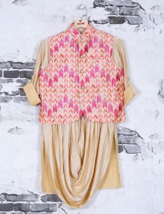 Beige pink festive wear kurta suit